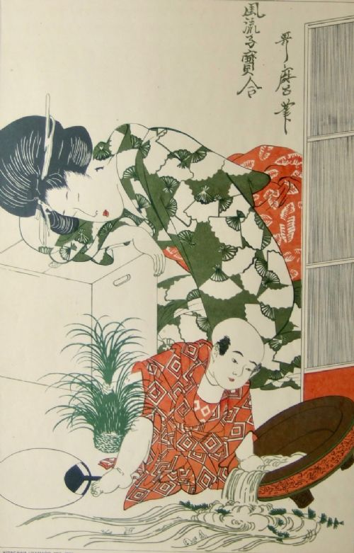 hand woodblock kabuki prints by shiva designs mother and child
