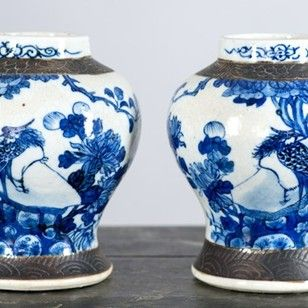 pair of late 19th c chinese blue and white vases