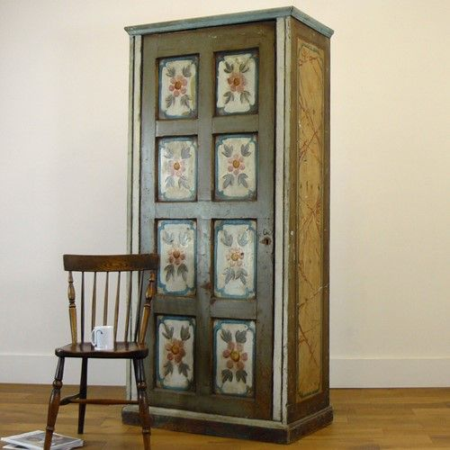19thc english folk art painted hanging cupboard