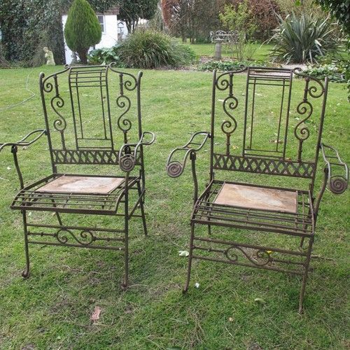 pair of conservatory or garden chairs c1930