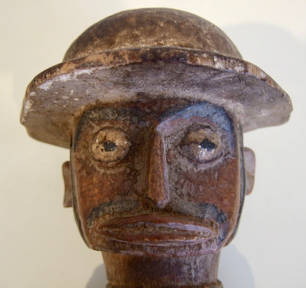 nigerian carved wooden figure of a dutch official