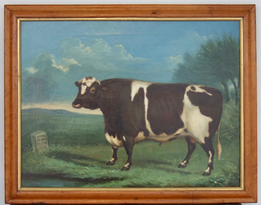 naive paintings of cattle set of three