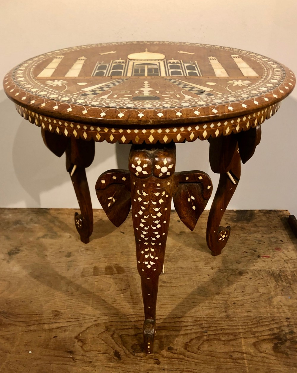 indian hoshiapur table with elephant trunk legs