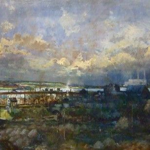 anthony kerr oil on board painting of gravesend and tilbury