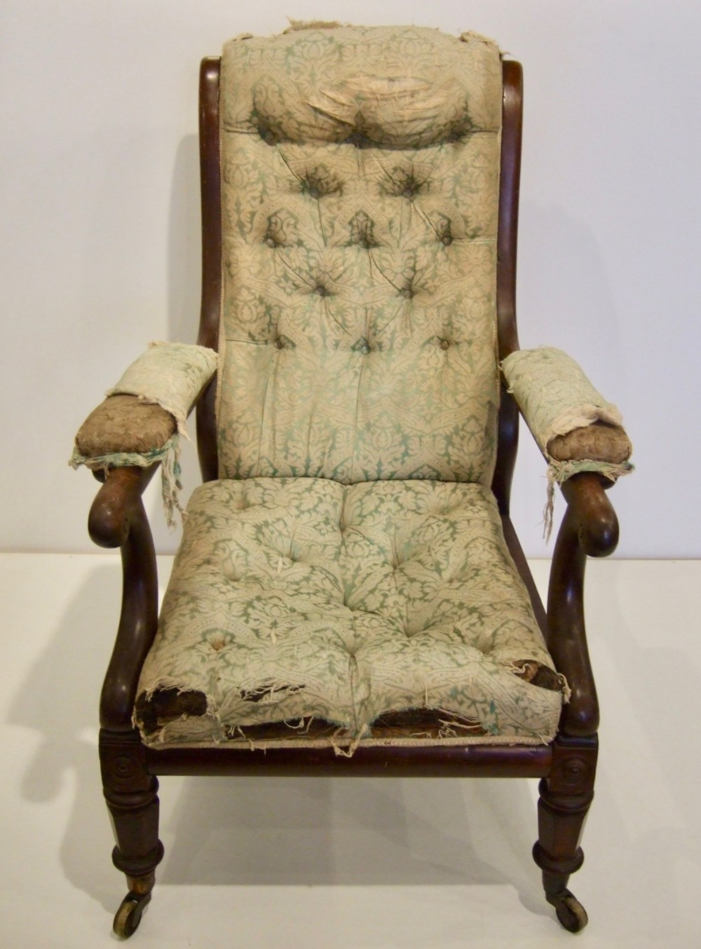 large victorian arm chair for restoring