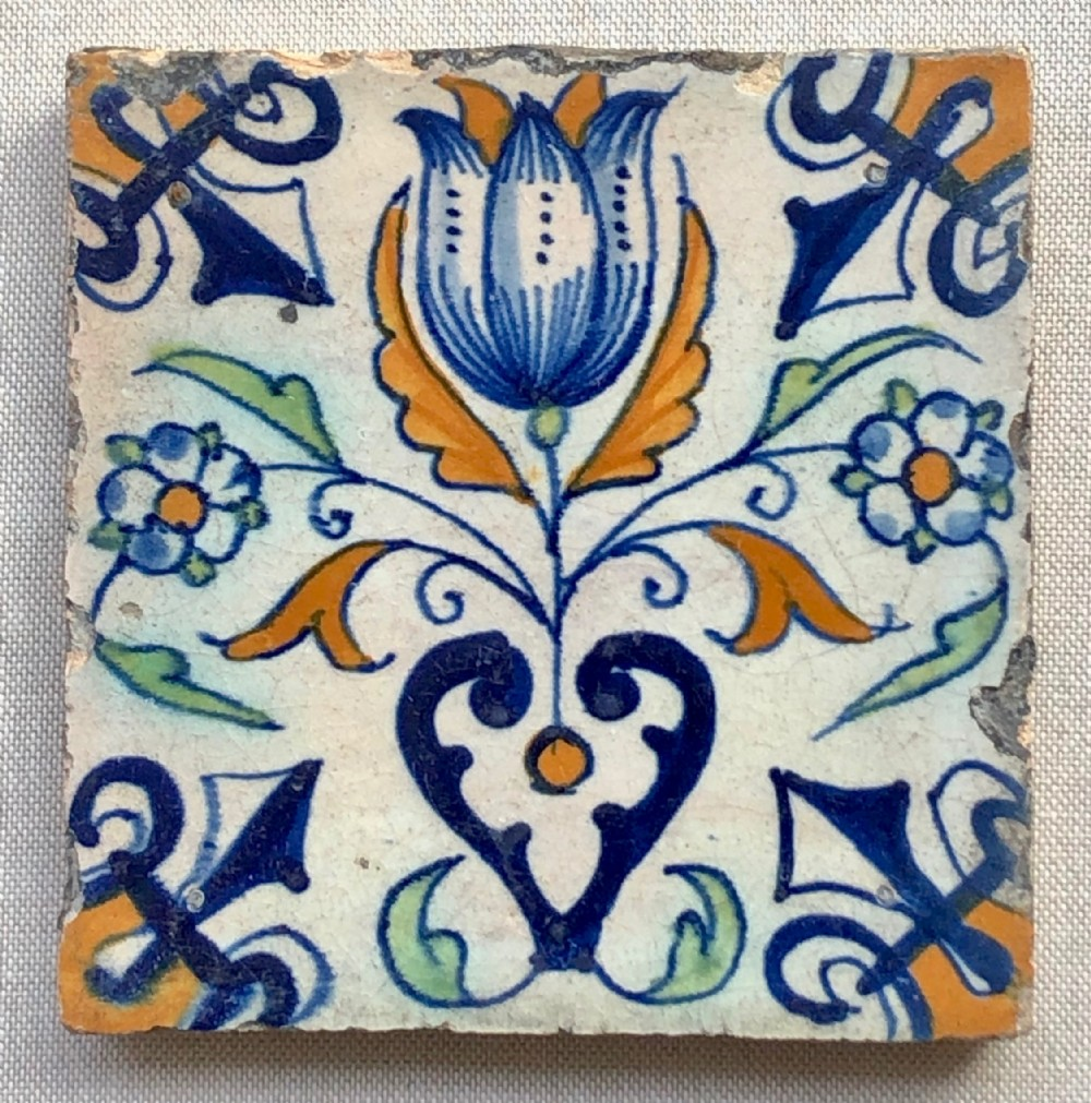 early 18thc polychrome delft tile tulipc 1740