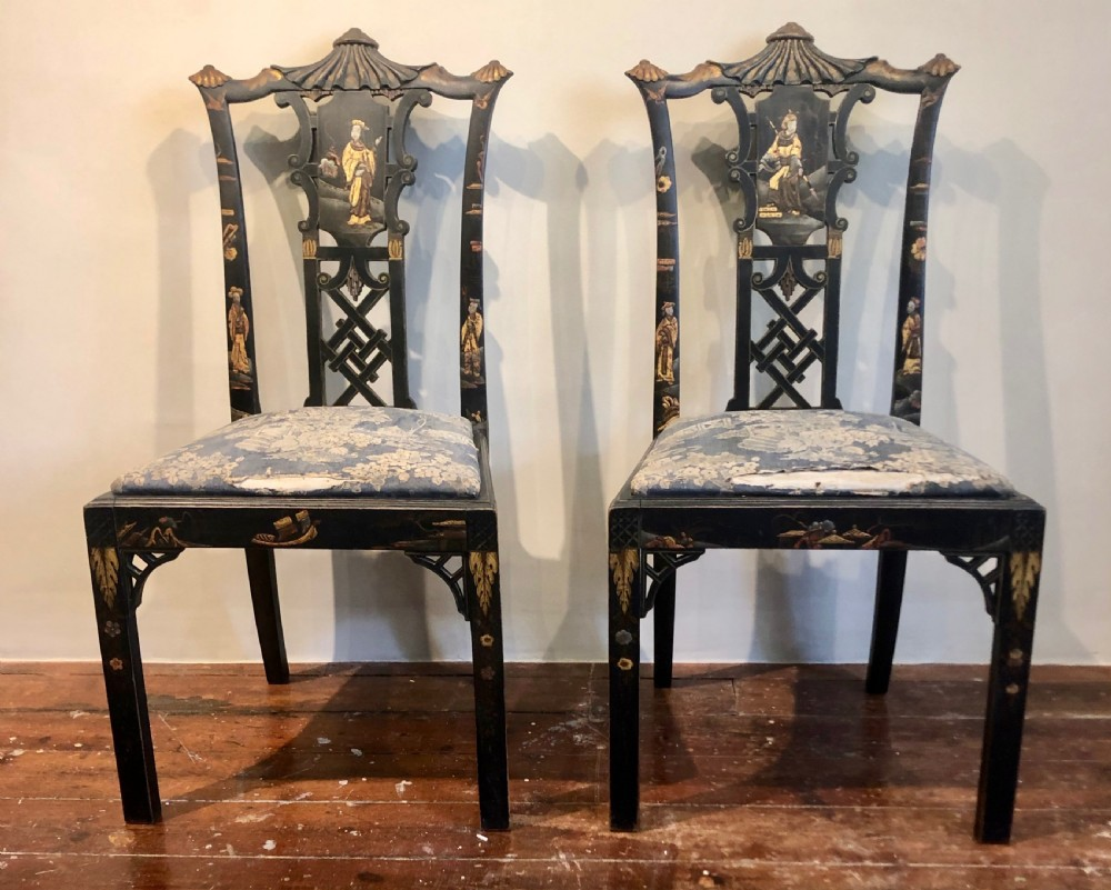 pair of high regency laquer chairs in the chinese style